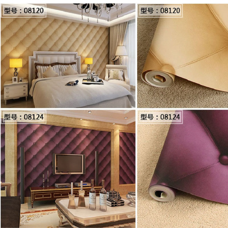 3D fake leather wallpaper decor for Living room wall paper 0.53m *10m<br>
