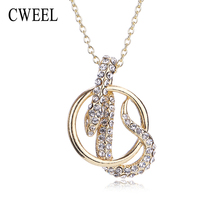 CWEEL Snake Pendant Necklace For Women Imitated Crystal Jewelry Gold Color Fashion Choker Bijouterie Lady Dress Accessories