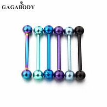 GAGA 14G Titanium Anodized Surgical Steel Nipple Tongue Ring Barbell Body Piercing Jewelry 6 Pieces