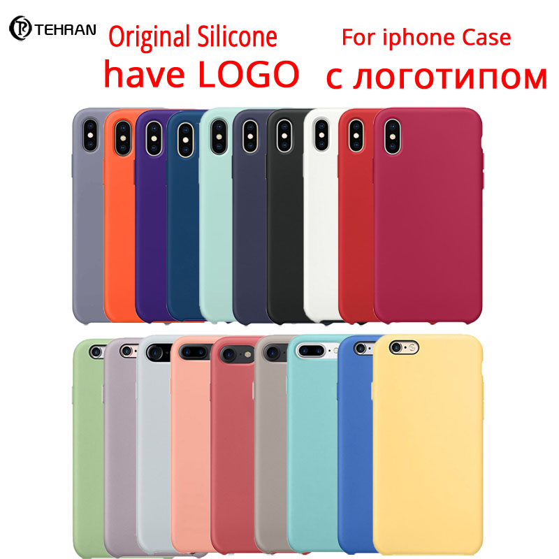 logo silicone case for iphone 8 7 6s cover iphone xs xr cases for men women phone case coque funda iphone 7 telefon kilifi(China)