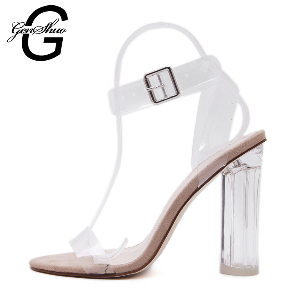 11cm Summer Women Sandals PVC Block High Heel Crystal Clear Transparent Sandals Concise Buckle Ankle Straps Pump Wedding Shoes<br>