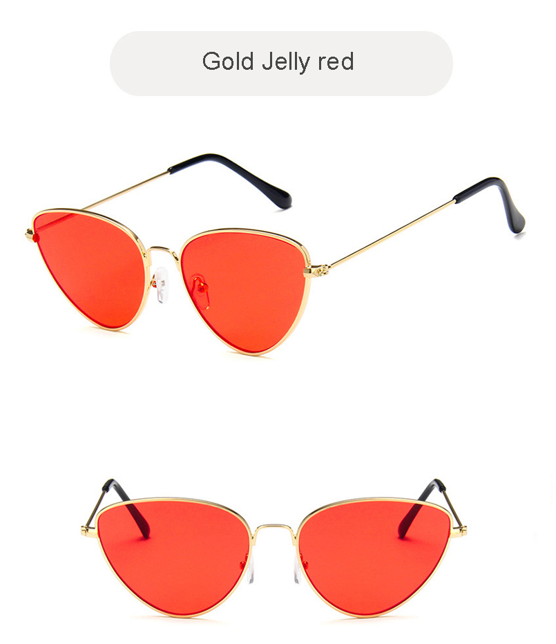 Megatina Retro Metal Frame Womens Sunglasses Brand Jelly color Cat Eyes Eyewear Accessories Ladies Mirror UV400 Shades KS7024
