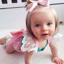 Cute Toddler Baby Summer Clothes Set Lace Cap Sleeve Blouse+Bib Bottom