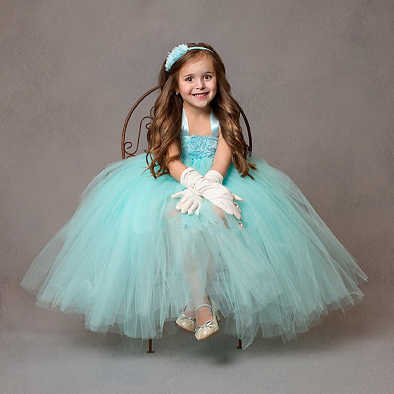 2017 Top quality European style Flower Girl Dresses Green and Purple yarn Flower 2-10Y Draped Ball Gown Evening Dress BaBy Prom<br><br>Aliexpress