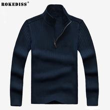 2017 Winter Warm Casual Thick Knitwear Sweater High-Quality Zipper Wool Man Knitted Pullovers Fleece Sleeve Standard TC834