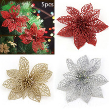 Hot 5pcs 15CM Glitter Artificial Flowers Christmas Tree Ornaments Decorations Christmas Decorations for Home Christmas Gifts.9z(China)