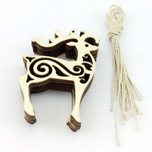 free shipping  wholesale laser cut cute deer shape Wooden Christmas Ornaments sd-016