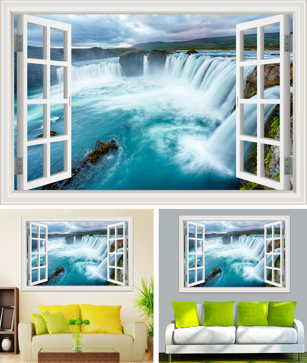 HTB1hp7zhTnI8KJjSszbq6z4KFXae - Waterfall 3D Window View Wallpaper Nature Landscape Wall Decals for Living Room