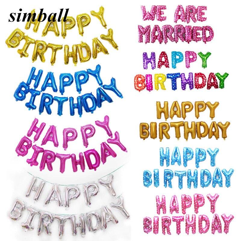 Globos De Papel De Aluminio empavesado Feliz Cumpleaños Decoración Banner Letras aire Ballons Fiesta