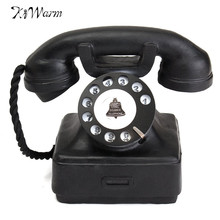 Home Ornaments Vintage 1940s Western Black Rotary Handset Desk Phone Model Children Toys Resin Telephone Crafts Decor Gift(China)