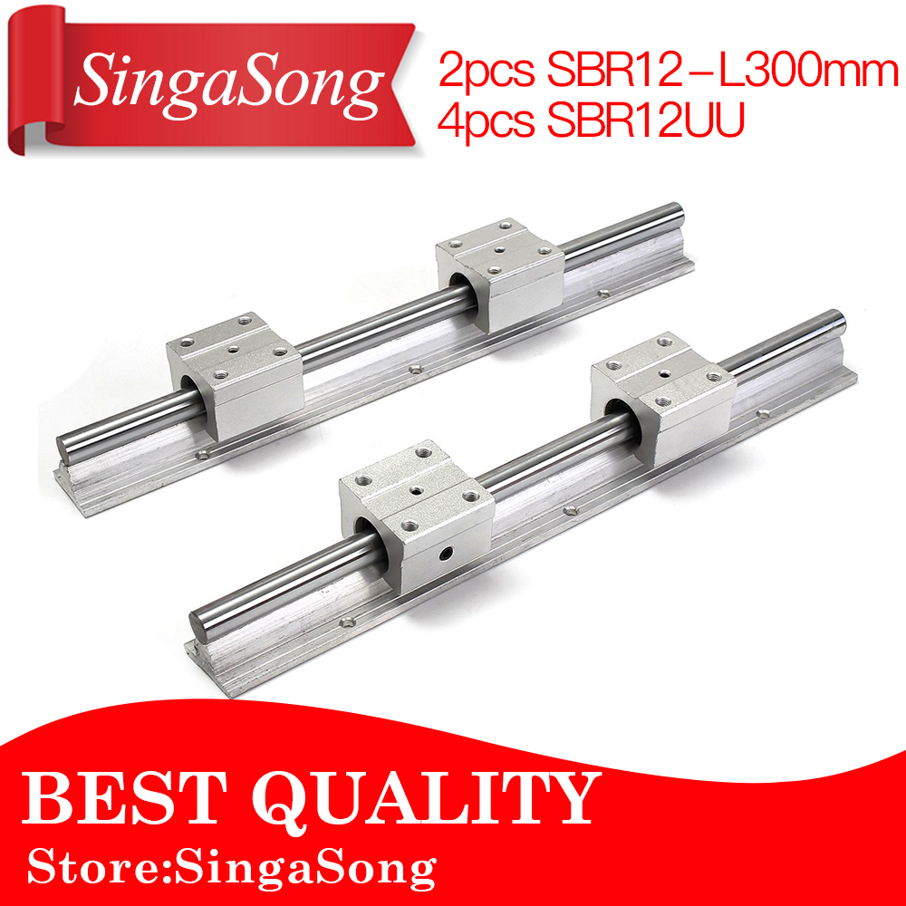 Best Price! 2 pcs SBR12 300mm for linear bearing supported rails+4 pcs SBR12UU bearing blocks for CNC<br>