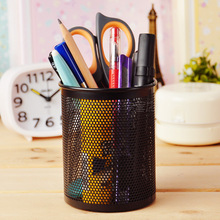 2017 creative pen holders for desk metal grid Pen Pot  Stationery Container pen stand Office Supplies desk accessories organizer