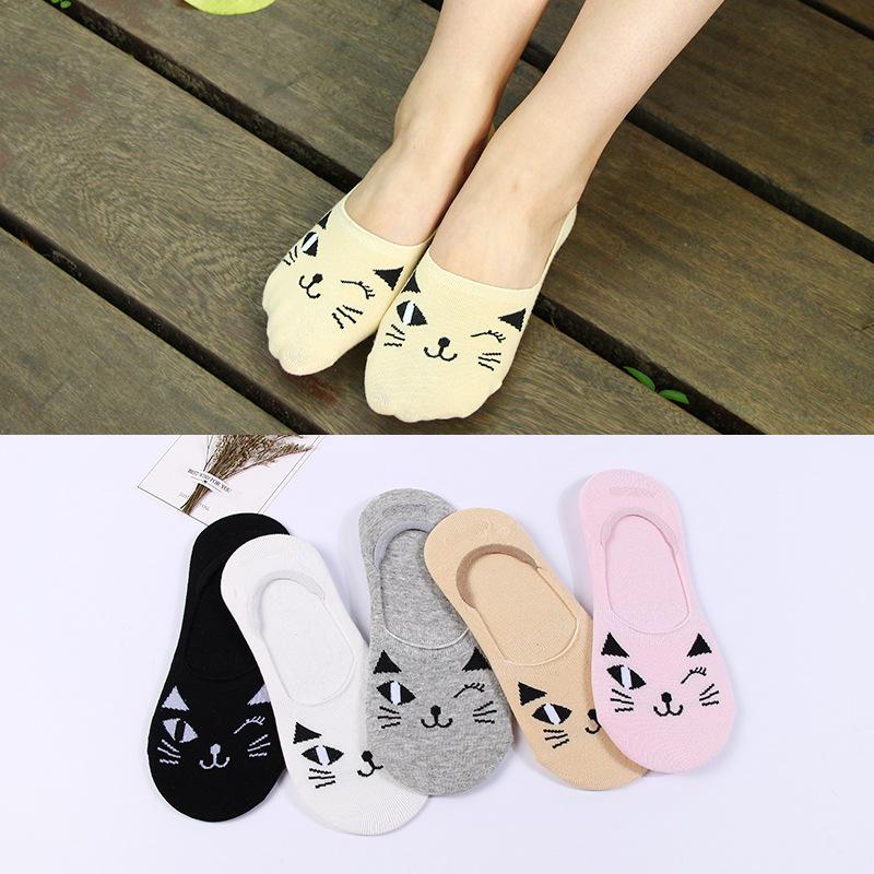 Хлопковые женские носки весна лето Невидимый силиконовый носок милый кот  Женщины Тапочки e787e3a739c16