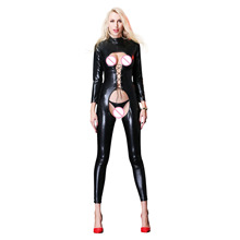 Buy Women Sexy PU Leather Bodysuit Lace Open Bra Crotchless Playsuit Body Sexy Hot Catsuit Erotic Lingerie Nightclub Uniform