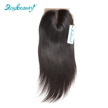 Rosabeauty Silk Base Closure Brazilian Straight Human Remy Hair 4X3.5 Siwss Lace with Bleached Knots Middle Part Style(China)