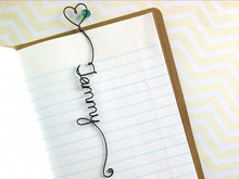 Personalized Wire warp Bookmark with Heart and Bead Custom Name Book Accessories flower girl gift Teacher's  Present Music Movie