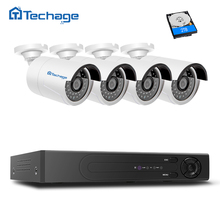 Techage H.265 FULL HD 4CH NVR 4.0MP Outdoor IP PoE Surveillance System, 4 IP66 Waterproof Security Camera PoE CCTV System KIT
