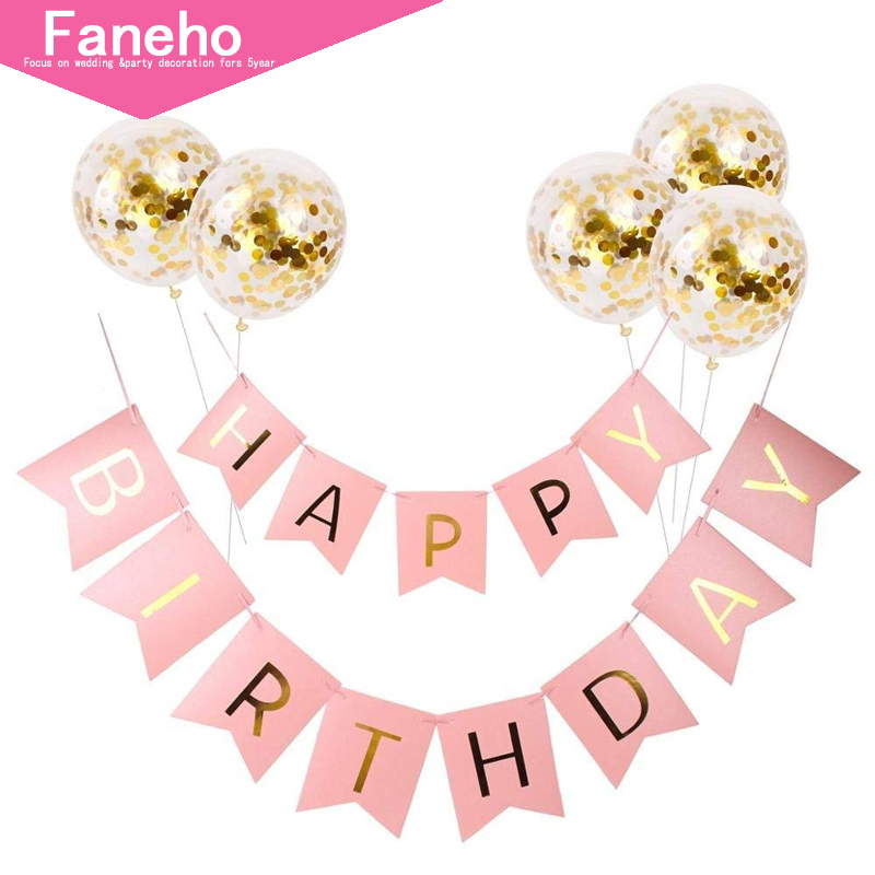 white happy birthday banner gold confetti balloons letter banner birthday party decorations boy girl kids party favors the divine diva shop