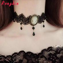 Womens Gothic Alloy Victorian Lady Head Black & White Cameo Bead Drop Pendant Ribbon Choker Chunky Necklace Collar Vintage Retro