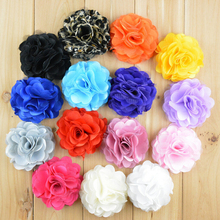 8 cm Chic Satin Flower Flat Back For DIY Accessories Fabric Tulle Mesh Flower For Girls Apparel Hat Headband