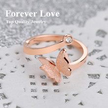 YUN RUO New Design Frosted Surface Butterfly Rings Titanium Steel Rose Gold Color Fashion Jewelry Women Free Shipping USA Size