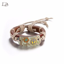 brown hanging art painting leather bracelet for women bohemia custome wrap wrist decor rubber bracelet leather men bijoux  HF059