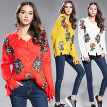 2017 New spring autumn period embroidery sweater long-sleeved v-neck neck loose turtleneck sweater retro fashion(China)