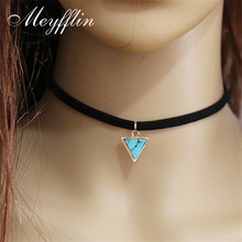 Punk Black Necklace Women Velvet Choker Necklaces & Pendants Statement With Triangle Faux Stone Collier Femme Jewelry Collares