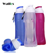 WALFOS food grade foldable my bottle 500 ml silicone Bicycle Water Bottle shaker plastic Sport Drink Travel Running Bottles(China)