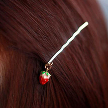 10 PCS/lot Lovely Exquisite Gold Color Alloy Fruit Hair Clips Red Strawberry Hairpins barrettes for Women girls gift Wholesale(China)