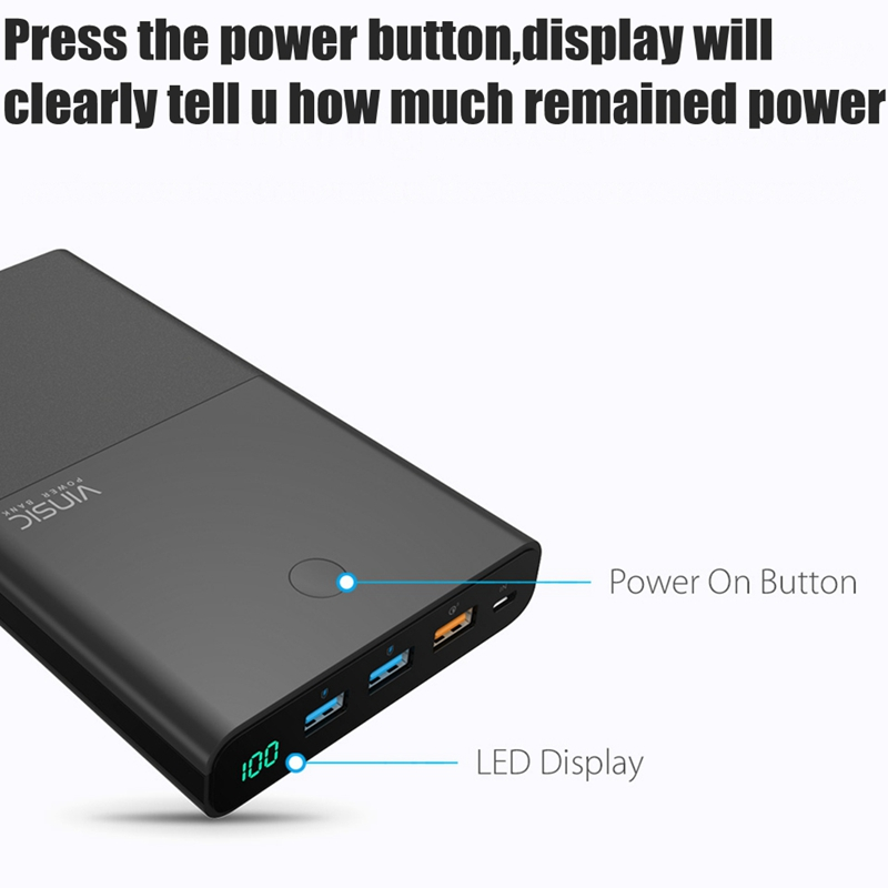 Vinsic Quick Charge 3.0 28000mah Power Bank QC3.0 Fast Charge 3 USB Ports 9V 12V for Xiaomi Mi5 Nexus 5X 6P Samsung S8 Note8