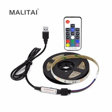 RGB USB LED Strip 2835 3528 TV Background lighting 5V LED String lamp Flexible Tape Ribbon RF 17key Controller 1M 2M 3M 4M 5M(China)