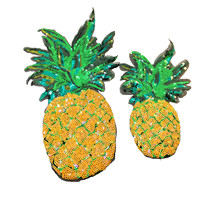 2Sets Sew On Sequin Pineapple Patch Fruits Applique Ananas Beaded Patches For Dress Appliques Parches DIY Accessories AC0967