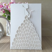 30pcs/lot Hot sale free shipping Wedding invitation card laser cut bridge romantic white shirt design 23color christmas birthday(China)