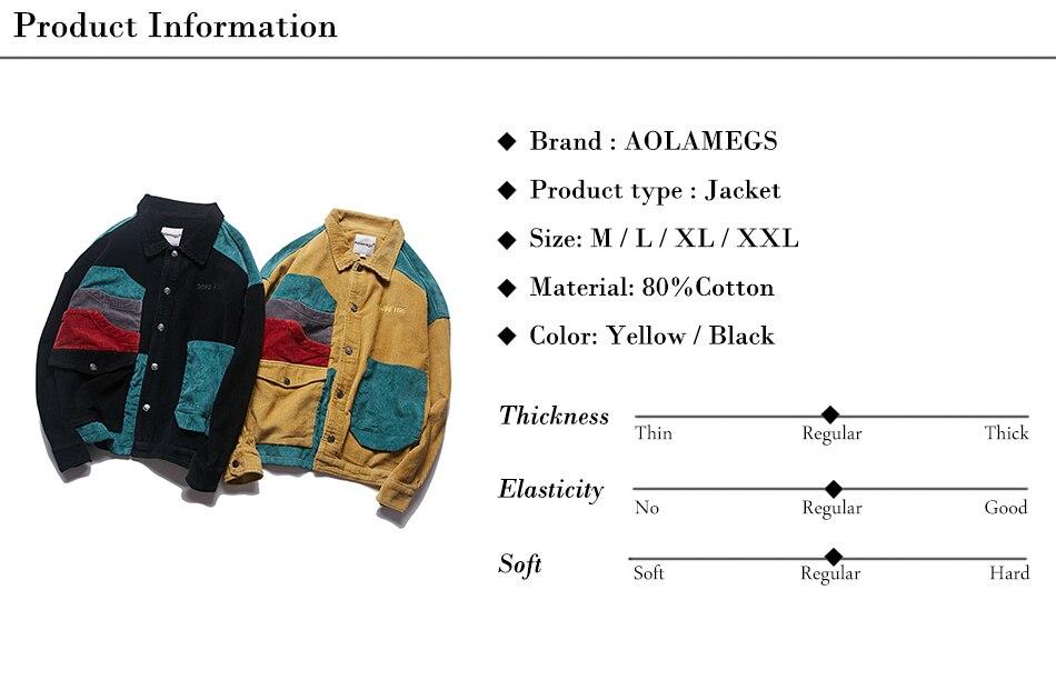 Aolamegs Jacket Men Corduroy Patchwork Men\`s Jacket Pockets High Street Fashion Casual Outwear Men Coat 2018 Autumn Streetwear (1)