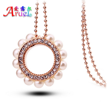 fashion collier costume jewelry channel long chain rose gold imitation pearl crystal girl pendant necklace accessories women