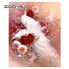 ZOOYA Diamond Painting Full Square Crystal White Peacock 3D DIY Animals Mosaic Decorative Diamond Embroidery Rhinestone SF068(China)