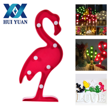 HuiYuan 3D LED Shine Flamingo Lamp Pineapple Table Light Cactus Night Lamp Marquee LED Letter For Home Christmas Decoration