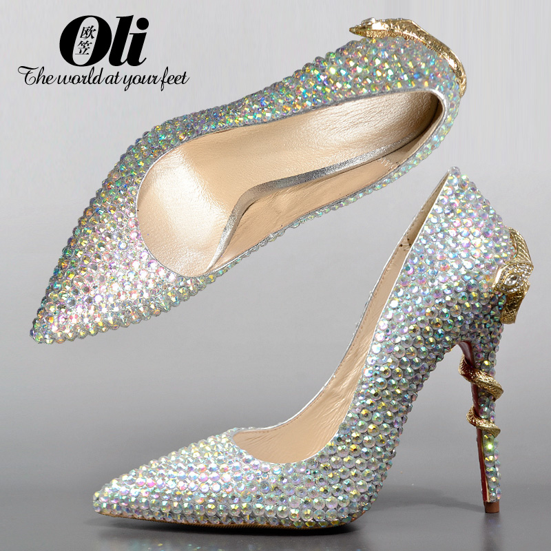 Sexy pointed toe high-heeled shoes rhinestone wedding shoes gold gem thin heels genuine leather shallow mouth silver autumn<br><br>Aliexpress