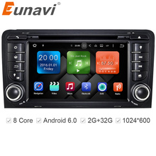 "Eunavi  7"" Octa 8 Core 64bit 32GB Android 6.0 Car DVD Player 2 din for Audi A3/S3(2003-2013) with TPMS/OBD2/4G/DAB+/ Maps GPS"