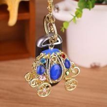 Dazzling Rhinestone Pumpkin Carriage Car Pendant Jewelry Keychain Christmas Gift(China)