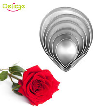 Delidge 6pcs/set Stainless Steel Rose Flower Cookie Cutters Kitchen Baking Mold Fondant Wedding Cake Decorating Tool(China)