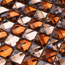 Pink Copper 13 edges beveled Crystal Diamond Mirror Glass Mosaic Tiles for showroom wall sticker KTV Display cabinet DIY decor(China)