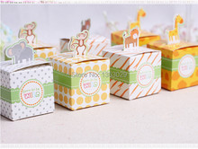 Free Shipping 60PCS Baby Shower Favors Box Safari Animal Wild Favor Box Candy Box Souvenir Boy/Girl Kids Event & Party Supplies(China)