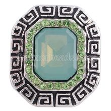 Wholesale 20MM Square snap Silver Plated with Blue resin and clear rhinestones snaps jewelry KC9082