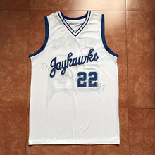 #22 Andrew Wiggins Kansas Jayhawks KU Throwback College Basketball Jersey Blue white Embroidery Stitched Custom any Number name(China)