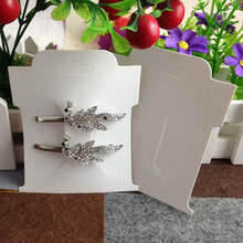 Hot 2016 New  White Hair Clip Card 1LOT =200 pcs Jewelry Display Card  Custom Logo Will Cost Extra