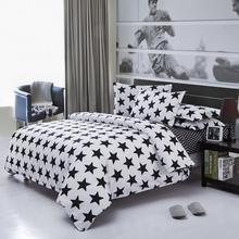 4pcs Bedding set Black and white striped plaid printed super soft cotton Bed Linen Include Duvet Cover Bed Sheet Pillow Cases