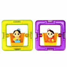 Square Magnetic With Boy or Girl Dolls Building Blocks Toy Toddler Children Educational Game Toddler Building Construction Toys(China)
