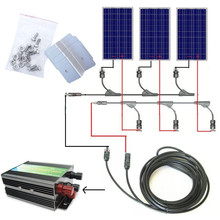 300w solar system complete kit 3 *100W photovoltaic PV solar panel system , solar module for RV boat, car , home solar system(China)